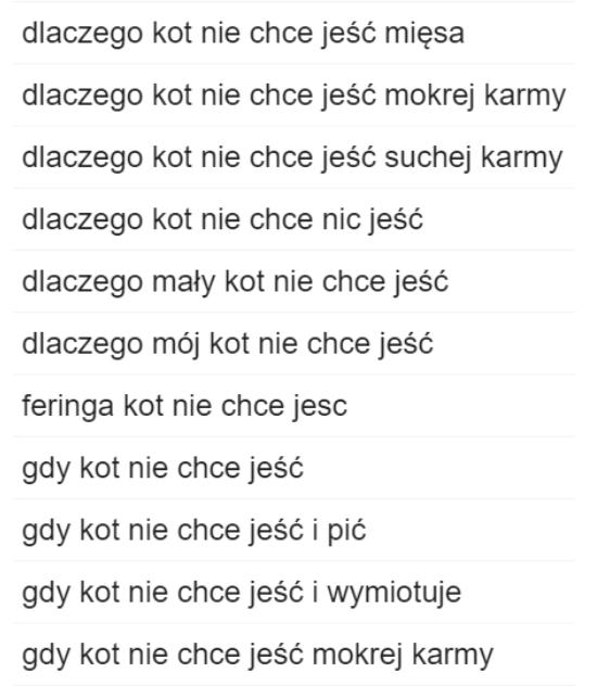 Screenshot słowa kluczowe