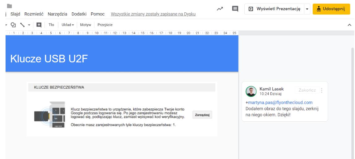 Przechowywanie, udostępnianie ikomentowanie wArkuszach Google
