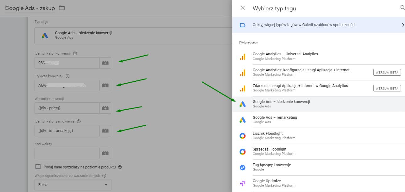 nowy tag – Google Ads – śledzenie konwersji
