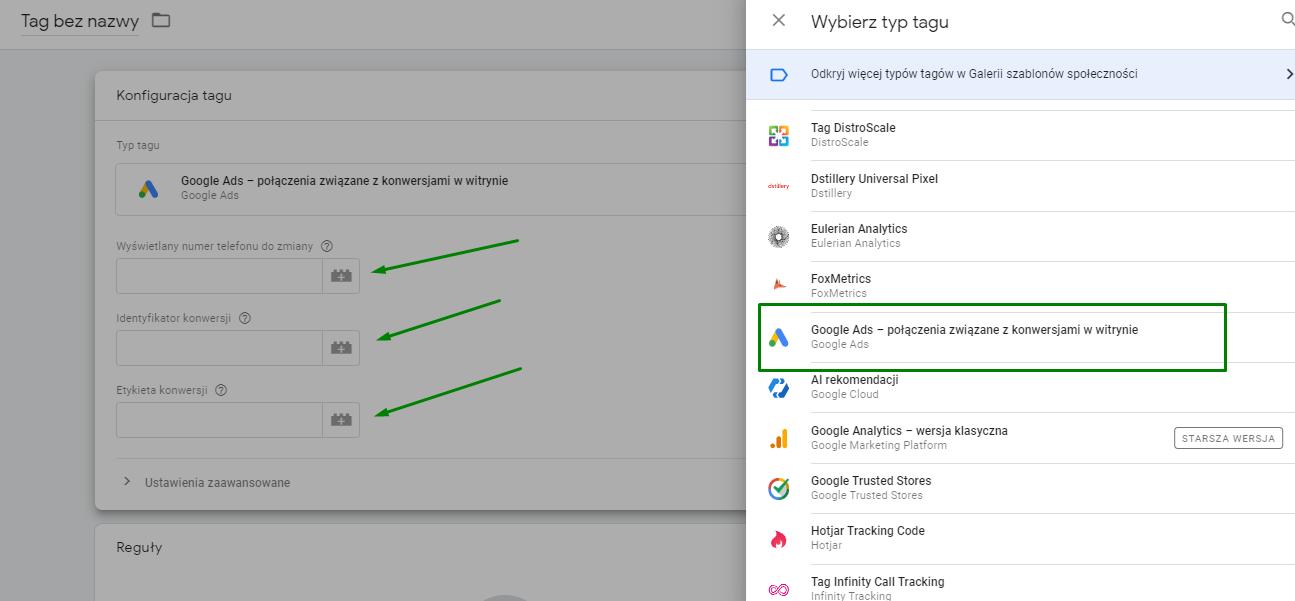 Google Tag Manager - śledzenie połączeń